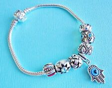 Set silver tone HAMSA Palm amulet, charms, stopper and European Bracelet s190