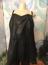 TORRID PLUS 6 BLACK FAUX LEATHER LINE LASER CUT HEM ADJUSTABLE STRAP TUNIC TOP