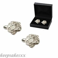 CUFFLINKS Sterling Silver BULLDOG Dog Puppy Pup Canines 925 UK - unique design