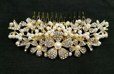 Bridal Bridesmaid Wedding Rhinestone Party Hair Diamonte Clip Comb Gold UK