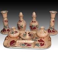 ANTIQUE R REDON LIMOGES FRANCE 9PC PORCELAIN LADIES DRESSER VANITY SET - FLORAL