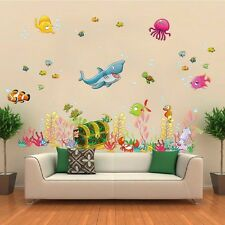 Shark Turtle Sea World Fish Wall Decal Removable Stickers Kids Nursery Art DIY