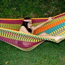 """Beautiful large handmade Mexican """"double knit"""" cotton hammock"""