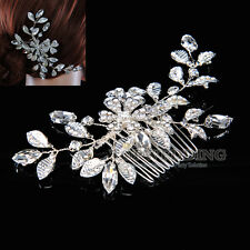 Flower Leaf Bridal Hair Comb Crystal Rhinstone Wedding Party Hair Accessory New