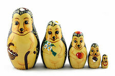 Matryoshka Matreshka Russian Nesting Doll Babuska Babushka Wooden Hedgehogs 5 Pc