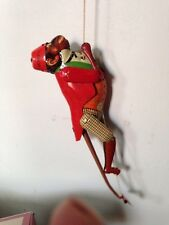 VINTAGE SCHYLLING COLORFUL ACTION MONKEY CLIMBING ON A STRING TIN TOY Lithograph