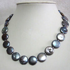 12-13mm Natural Black Freshwater Pearl Coin Pearl Necklace 18""