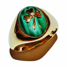 Stamped 925 Sterling Silver, GOLD PLATED, Malachite & Diamond Clover Ring - UK Y