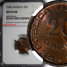 Angola Bronze 1948 20 Centavos NGC MS64 RB 300th Anniversary - Revolution KM# 71
