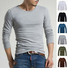 Men's Crew Neck Long Sleeve T-Shirt Slim Fit Casual Solid Color Basic Tee Shirts