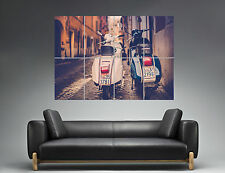 VESPA CITYSCAPE ON THE STREET  Wall Art Poster Grand format A0 Large Print