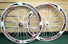 Fixed Gear 700c 50mm Wheels Sealed Bearing White Rim White Flat Bladed Spokes
