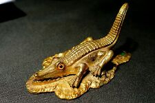 BRONZE ALLIGATOR WITH GLASS EYES SPRING LOADED VICTORIAN PAPER CLIP