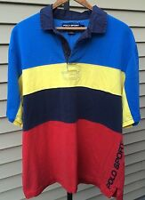 Polo Sport Ralph Lauren Color Block Spellout Shirt Red Blue Yellow Large