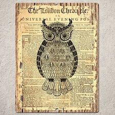 PP0179 OLD CLASSIC NEWSPAPER OWL Sign Home Restaurant Cafe Interior Wall Decor