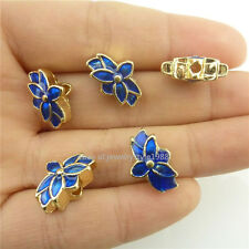 18543 2pcs Enamel Blue Lotus Golden Mini Cloisonne Loose 15mm Spacer Beads