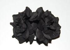 ROCKABILLY WEDDING PIN UP LITTLE VELVET TOUCH BLACK  DOUBLE ROSE HAIR CLIP