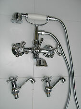 NEW CHROME VICTORIAN WALL MOUNTED BATH SHOWER MIXER & PAIR BASIN TAPS, 044N2