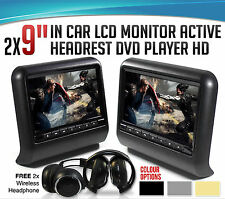 "2X9"" Car Headrest Active Monitor DVD/USB Player IR Game Headsets+Free Headphones"