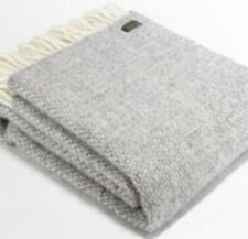 TWEEDMILL TEXTILES THROW Illusion Soft Grey Pure New Wool Welsh Blanket Throw
