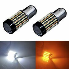 2PCS 120-SMD 1157 Dual Color White Yellow LED Switchback Turn Signal Light Bulbs