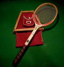 VINTAGE TED WILLIAMS WOOD TENNIS RACKET WITH SEARS & ROBUCK PRESS AND COVER