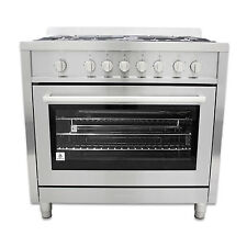 Cosmo COS-965AGF 36 in. Stainless Steel Freestanding Gas Range with Motorized Ro