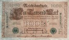 RARE GERMAN PAPER MONEY 1000 REICHSMARK BANKNOTE, 1910