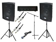 Complete 200W PA Speaker System for Band DJ Karaoke School - Mic, Leads & Stand