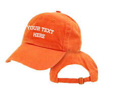 CUSTOM EMBROIDERED PERSONALIZED Unstructured Cap Hat Orange One Side Embroidery