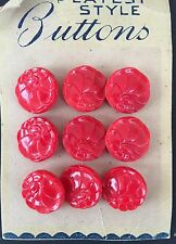 Vintage Glass Buttons - 1930's 9 Medium Bright Red Glass Flower Buttons
