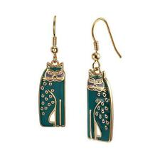 Laurel Burch Jewelry ~ Teal Green Siamese Cat #5018 Gold Tone Drop Earrings NWT