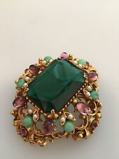Vintage FLORENZA Domed BROOCH / Pendant Large Faux EMERALD Seed Pearls....