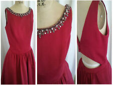 Davids Bridal Dress Beaded Neckline Hidden Pockets Red Cut Out Womens Size 10