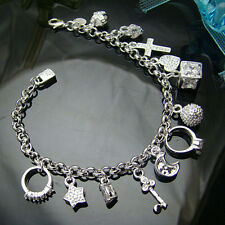 """925Sterling Silver Heart Moon Ring 13 Charms Women Chains Bracelet 8"""" GH144"""
