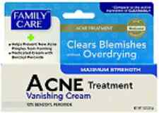 Acne Pimple Treatment Cream, Max. Strength 10% Benzoyl Peroxide,Family Care 1 oz