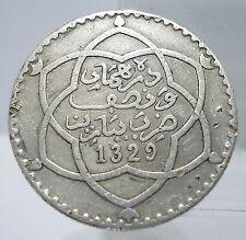 Morocco 1911 AH1329 1/4 Rial (1/2 Dirhams) 83.5% Silver Coin VF-XF Rare