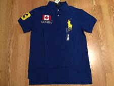 Polo Ralph Lauren blue yellow big pony Canada World Cup Olympic flag #3 shirt M