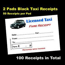 2 Pads of 50 Colour Printed Licensed Taxi Receipts Black TX4 Logo - FREE P&P