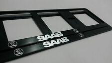 2X SAAB EUROPEAN LICENSE NUMBER PLATE SURROUND FRAME HOLDER.