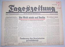 Orig. Zeitung 22.7.1945 Tageszeitung deutsche Bevölkerung Welt sieht auf Berlin