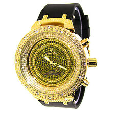 MENS ICED OUT GOLD CAPTAIN BLING ICE NATION HIP HOP WATCH WITH SILICONE BAND