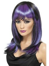 Black and Purple Glamour Witch Womens Halloween Fancy Dress Costume WIG 32519