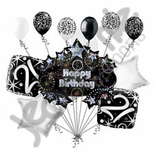 11 pc 21st Happy Birthday Balloon Decoration Party Elegant Adult Black White