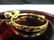 Kid Children Gold Chinese Oriental Round Cuff Bangle Bracelet Feng Shui Jewelry