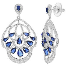 Rhodium Plated Navy Blue & Clear CZ Special Occasion Chandelier Earrings
