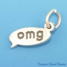TEXT MESSAGE OMG OH MY GOD .925 Solid Sterling Silver Charm TEXTING CHAT