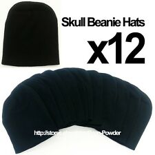 **BLACK** WHOLESALE LOT OF 12 PLAIN BLANK SOLID SKULL SHORT BEANIE HATS