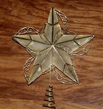 "CHRISTMAS CAPIZ SHELL ""GLASS OYSTER"" VICTORIAN GOLD SCROLL STAR TREE TOPPER TOP"