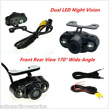 170°Wide Dual LED Car Front Rear View Reverse Backup Parking Camera Night Vision